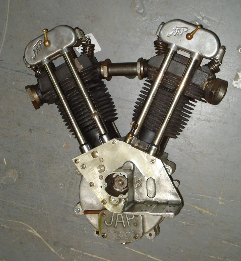 A JAP overhead-valve 680cc V-twin motorcycle engine dating from 1933/34,