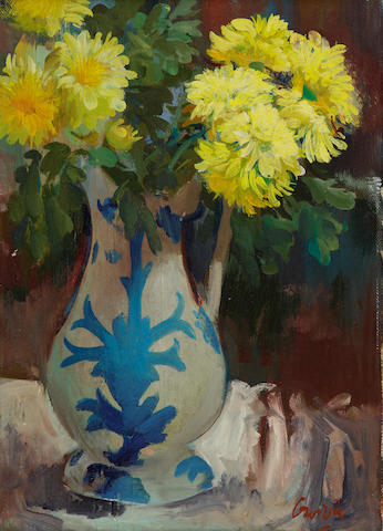 William Crosbie, RSA RGI (British, 1915-1999) Jug of chrysanthemums