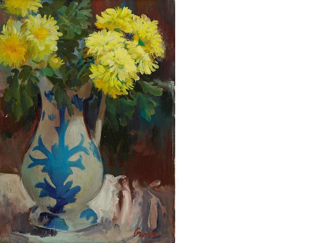 William Crosbie, RSA RGI (British, 1915-1999) Jug of yellow flowers