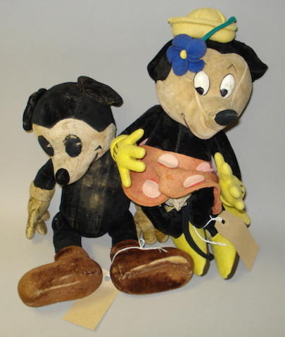 Mickey and Minnie Mouse cloth toys, 1930's 2