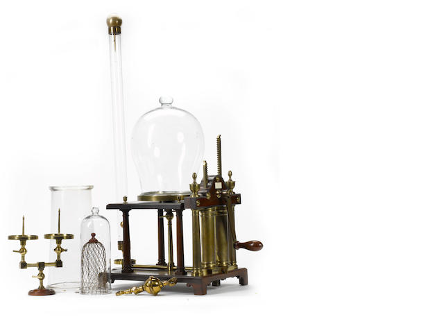 An Adams double-action air pump and a comprehensive collection of associated experimental glass ware