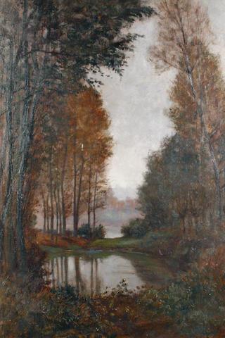 Giuseppe Augusto Levis (Italian, 1873-1926) A woodland pool