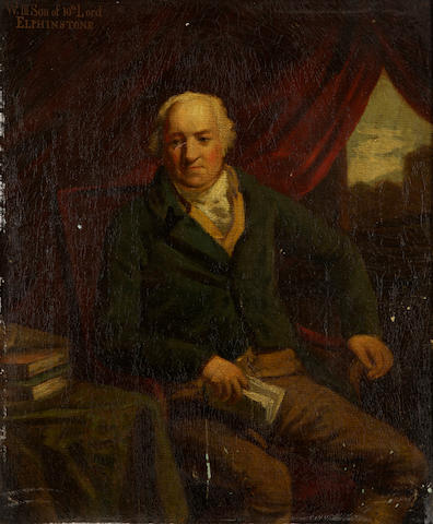 Follower of Sir Henry Raeburn, RA (Edinburgh 1756-1823) Portrait of 10th Lord Elphinstone seated at a desk