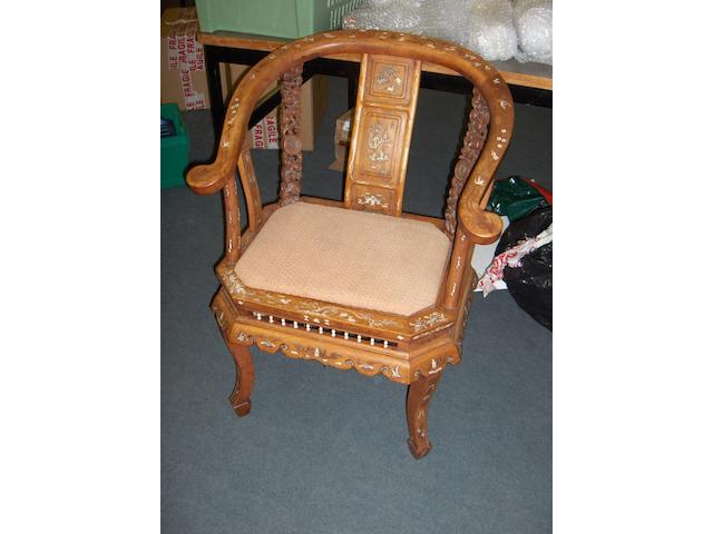 A late 19th century Chinese hardwood armchair