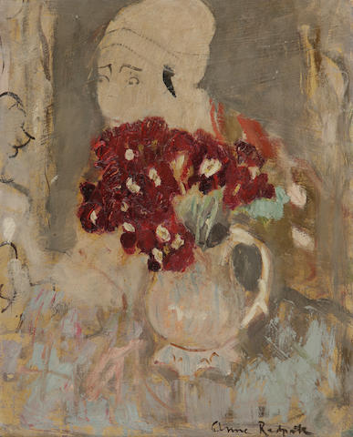 Anne Redpath, OBE RSA ARA LLD ARWS ROI RBA (British, 1895-1965) Primulas and Japanese print