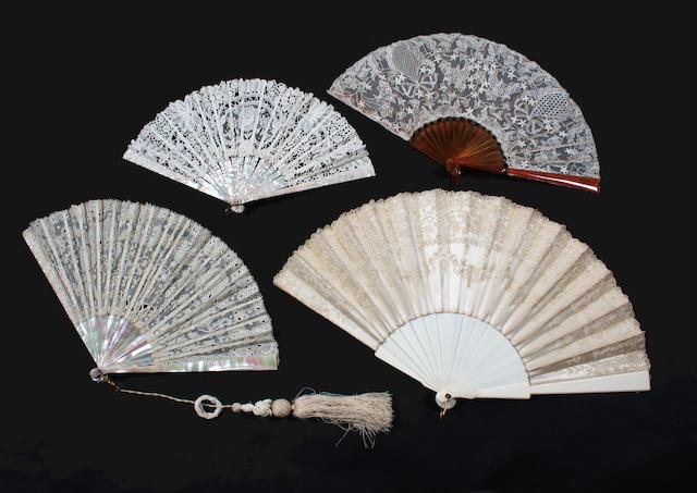 A Carrickmacross lace fan on mother-of-pearl sticks