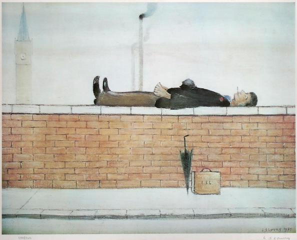 """Laurence Stephen Lowry, R.A. (British, 1887-1976) """"Man on the Wall"""","""