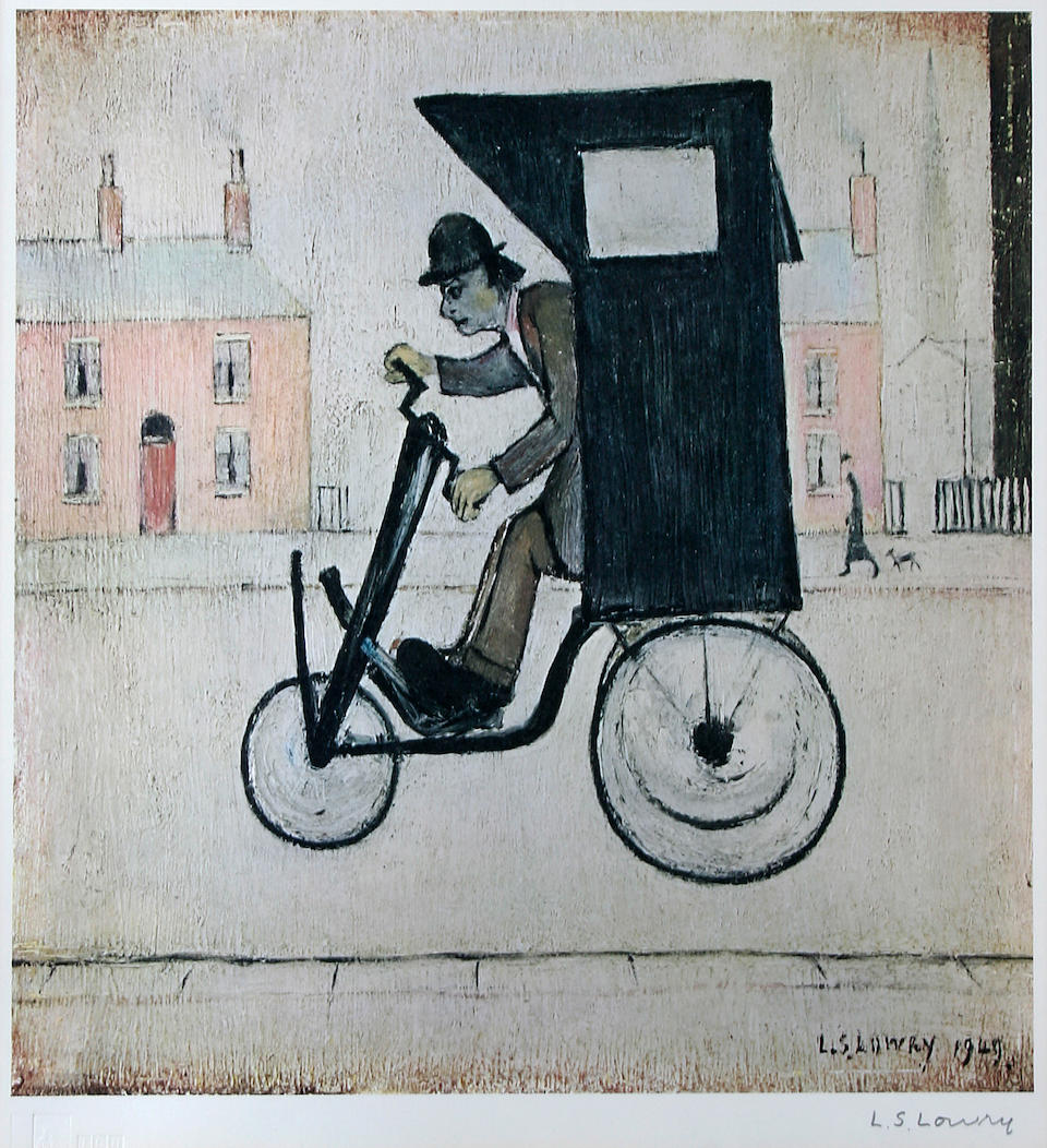 Laurence Stephen Lowry, R.A. (British, 1887-1976) 'The Contraption', with two accompanying printed sketches inscribed 'To A.K',