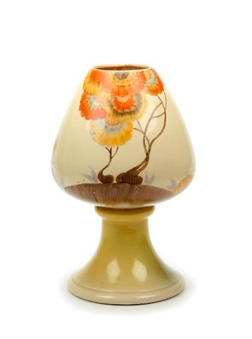 A Large Clarice Cliff 'Rhodanthe' pattern brandy balloon vase Circa 1930
