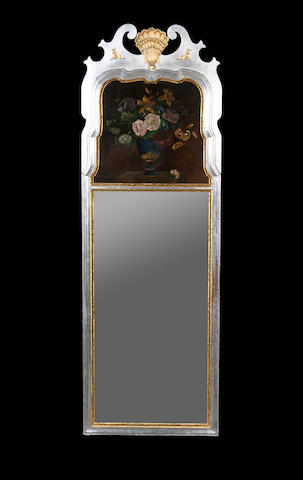 A silvered and giltwood trumeau mirror in the Queen Anne style,