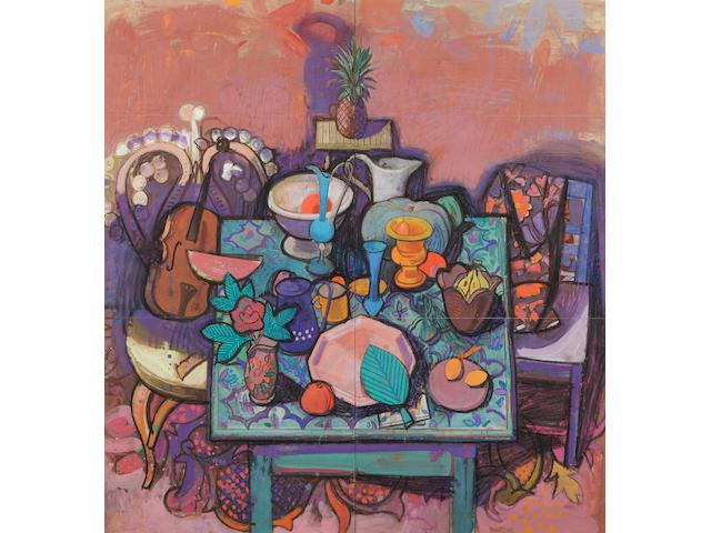 Leon Morrocco ARSA (British, 1942) Still life, tiled table