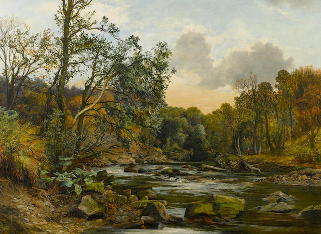 James Faed (Scottish, 1821-1911) River landscape