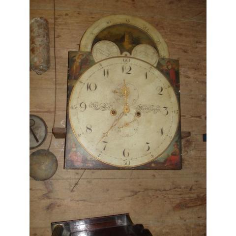 Mahogany longcase clock, painted dial by Wm Lee