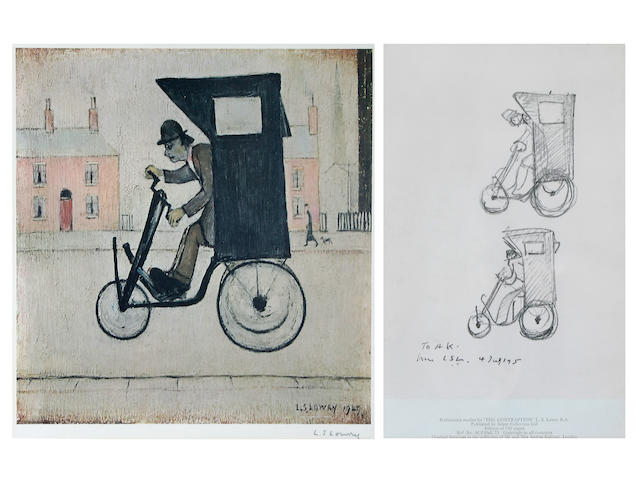 Laurence Stephen Lowry, R.A. (British, 1887-1976) 'The Contraption', signed in pencil, with blind stamp, together with a printed 'Preliminary study for The Contraption', 31 x 30cm and 25 x 16.5cm,(2),