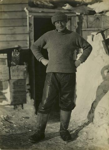 Herbert George Ponting (British, 1871-1935) Dr Edward Adrian Wilson photographed outside winter quarters during the British Antarctic Expedition 1910-1913