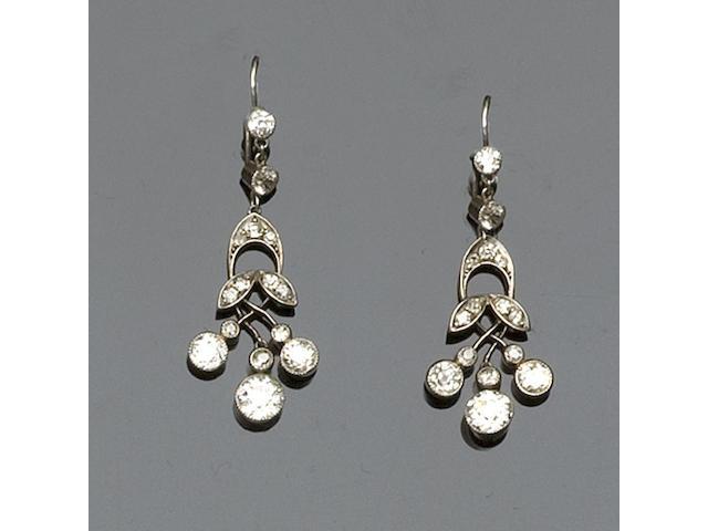 A pair of Edwardian chandelier diamond drop earpendants