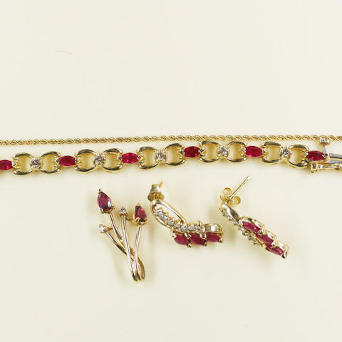 A ruby and diamond bracelet, pendant necklace and earring suite