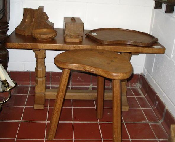 Mouseman Thompson of Kilburn:table, stool, tray, book ends & box