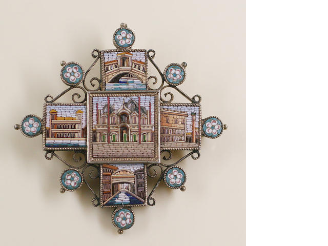 A 19th century micro mosaic cross pendant/brooch
