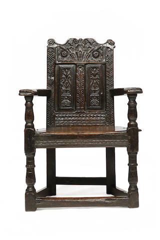 An oak caqueteuse chair, probably coastal Fife, first half 17th century