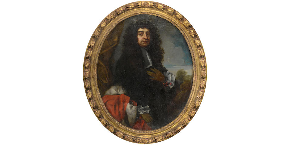 Studio of Antonio Verrio (Lecce circa 1639-1707 Hampton Court) Portrait of a gentleman, three-quarter length, in black robes standing before a gold curtain, a landscape beyond