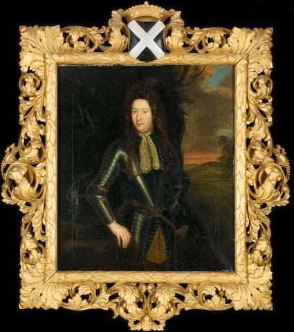 Manner of Constantyn Netscher Portrait of a gentleman, three-quarter-length, in suite of armour before a landscape; and Portrait of a lady, three-quarter-length, in an orange dress holding a blue robe, standing beside a red curtain the latter laid down on panel  (2)