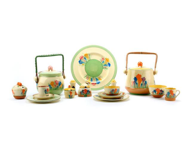 A collection of Clarice Cliff 'Crocus' pattern wares
