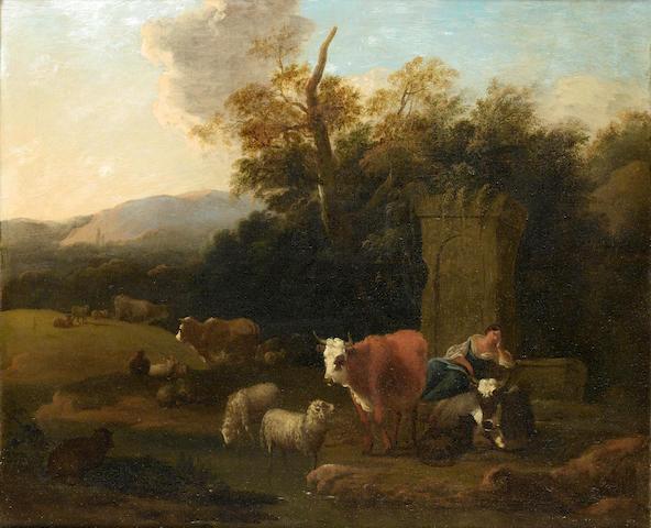 Michiel Carrée (The Hague 1657-1747 Alkmaar) An Italianate landscape with a shepherdess resting besi