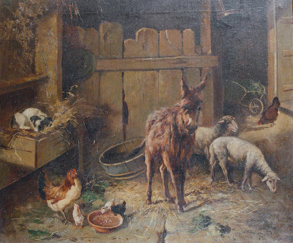 Follower of Filippo Palizzi (Italian, 1818-1899) A donkey, sheep and chickens in a barn