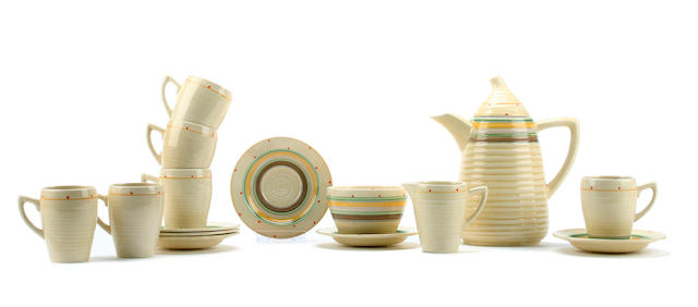 A Clarice Cliff Lynton coffee service for six