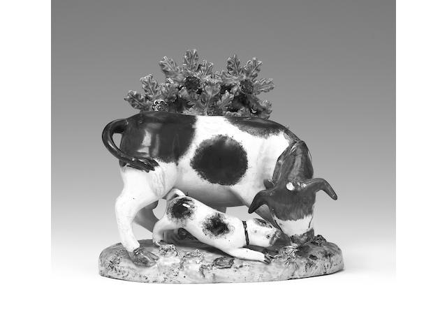 A Staffordshire pearlware bull baiting group Circa 1820