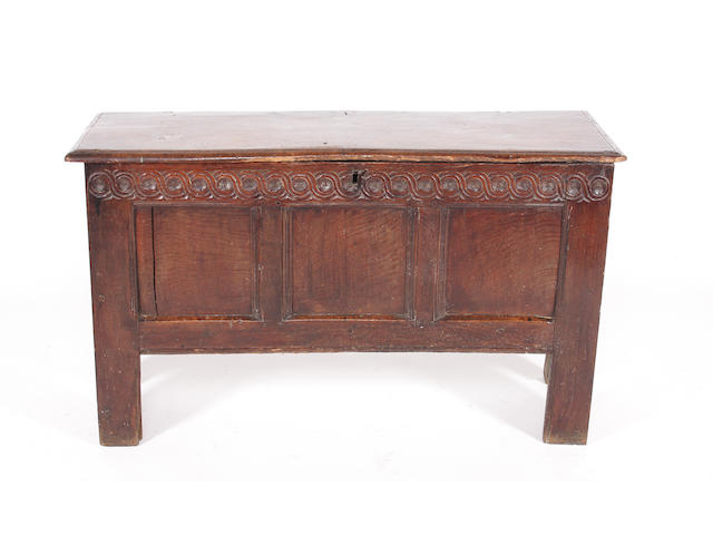 A transitional late 17th century oak coffer