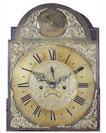 A late George III oak and mahogany crossbanded longcase clock