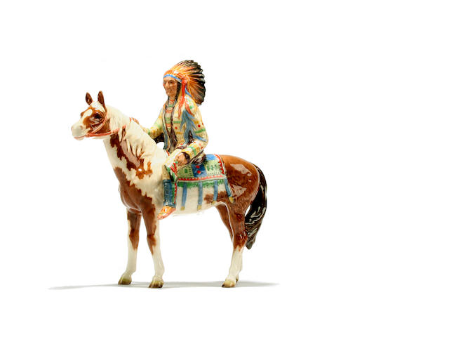 Beswick A Beswick figure of a Mounted indian chief on horse back