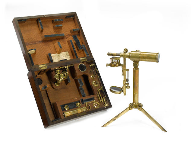 An extremely rare John Cuthbert brass reflecting microscope No.35, English, circa 1830,