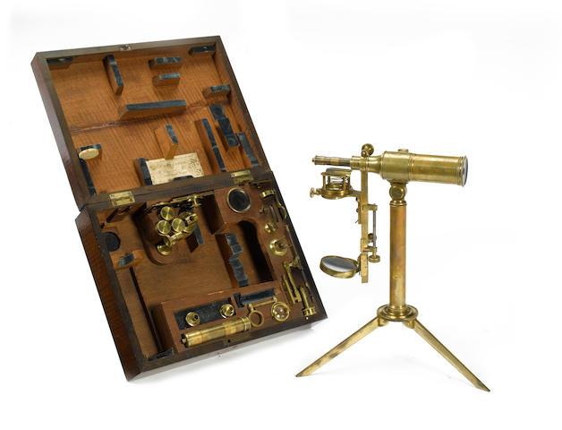 An extremely rare John Cuthbert brass reflecting microscope No.35, English, circa 1830,