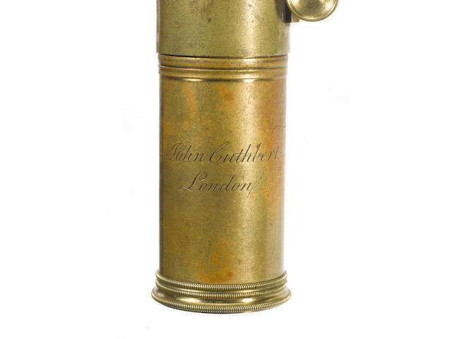 An extreamly rare John Cuthbert brass reflecting microscope No.35,  English,  circa 1830,