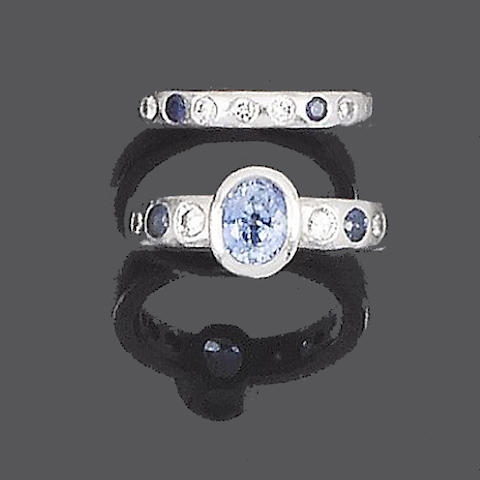 A sapphire and diamond ring and a sapphire and diamond band ring, by Malcolm Betts