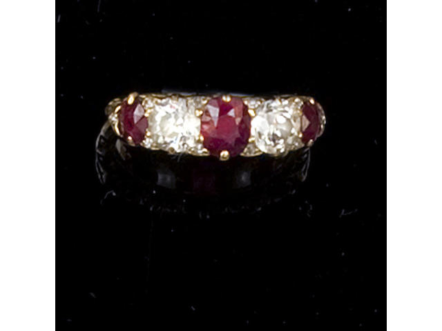 A late Victorian ruby and diamond five stone ring