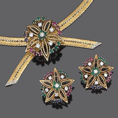 A multi gem-set necklace, bracelet and earring suite, (3)