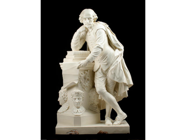 After Peter Scheemakers (Flemish, 1691–1781): A large painted metal figure of Shakespeare