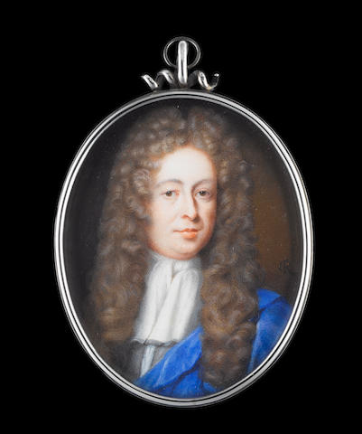 Christian Richter (Swedish, 1678-1732) John Lowther, 1st Viscount Lonsdale PC FRS (1655-1700), wearing grey coat, white cravat and long natural curled wig, a blue cloak over his left shoulder
