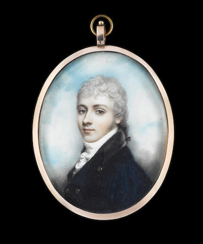 Andrew Plimer (British, 1763-1837) A Gentleman, wearing blue coat with black collar and brass buttons, white waistcoat, frilled chemise and stock, his powdered hair worn en queue with a black ribbon bow