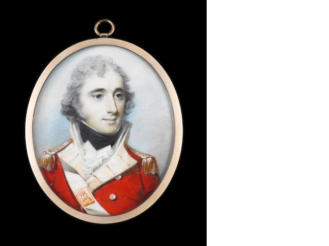 George Engleheart (British, 1750-1829) Lieutenant Colonel Thomas Grey (1770/1-1797), wearing the uniform of the 12th Regiment of Foot, scarlet coatee with buff coloured facings, gold epaulettes, white cross belt, the belt plate with Royal Insignia GR, white waistcoat, frilled white chemise and black stock, his hair powdered
