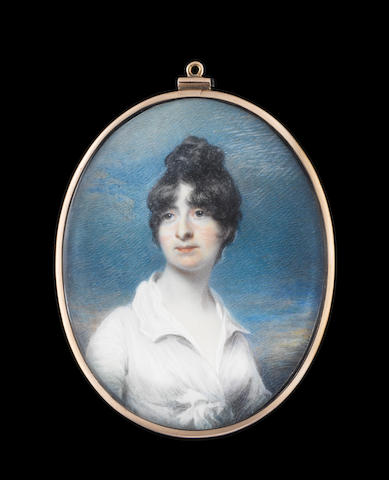 John Wright (British, circa 1745-1820) Deborah Williams (d.1832), later Mrs Henry Tremenheere, wearing white dress, her dark hair upswept