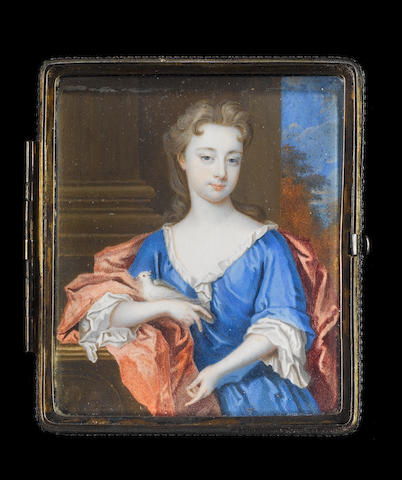 Christian Richter (Swedish, 1678-1732) A Lady, half-length, wearing blue dress over white smock, a crimson mantle about her shoulders, she rests her right elbow on a plinth, a dove nestled in her hand, pillar and landscape background