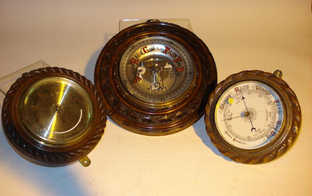 Three early 20th century carved wood aneroid barometers, Unsigned, 3