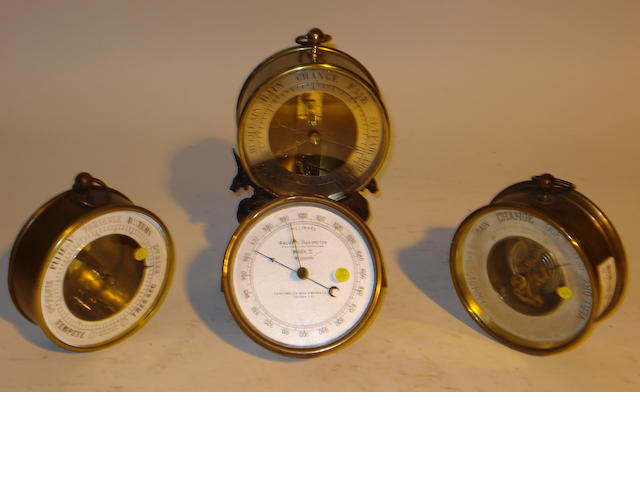 Four early 20th century brass cased aneroid barometers 5