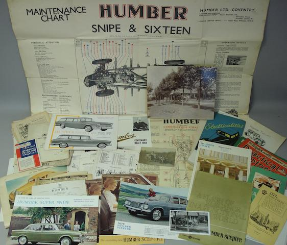 A quantity of ephemera relating to pre and post-War Humber cars,