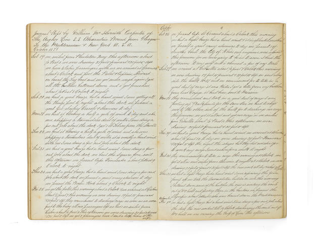 A 19th century manuscript Ship's Carpenter's personal journal,  13x8in(33x20cm)